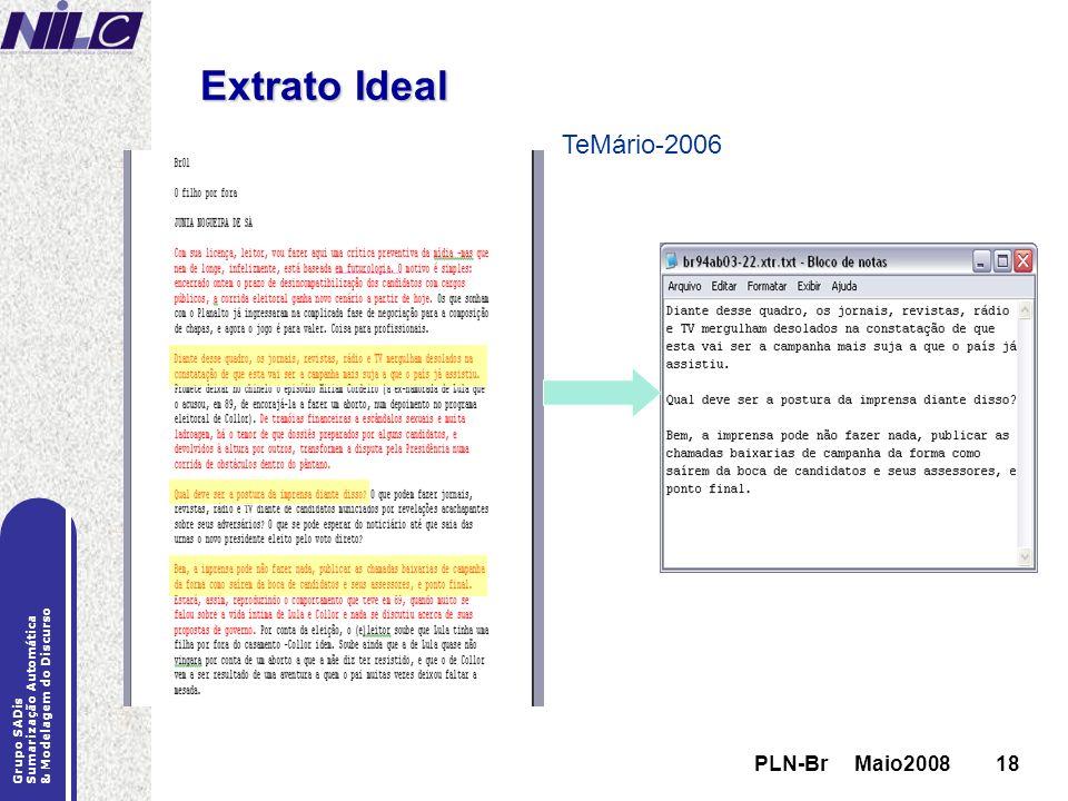 PLN-Br Maio200818 Grupo SADis Sumarização Automática & Modelagem do Discurso PLN-Br Maio200818 Extrato Ideal TeMário-2006
