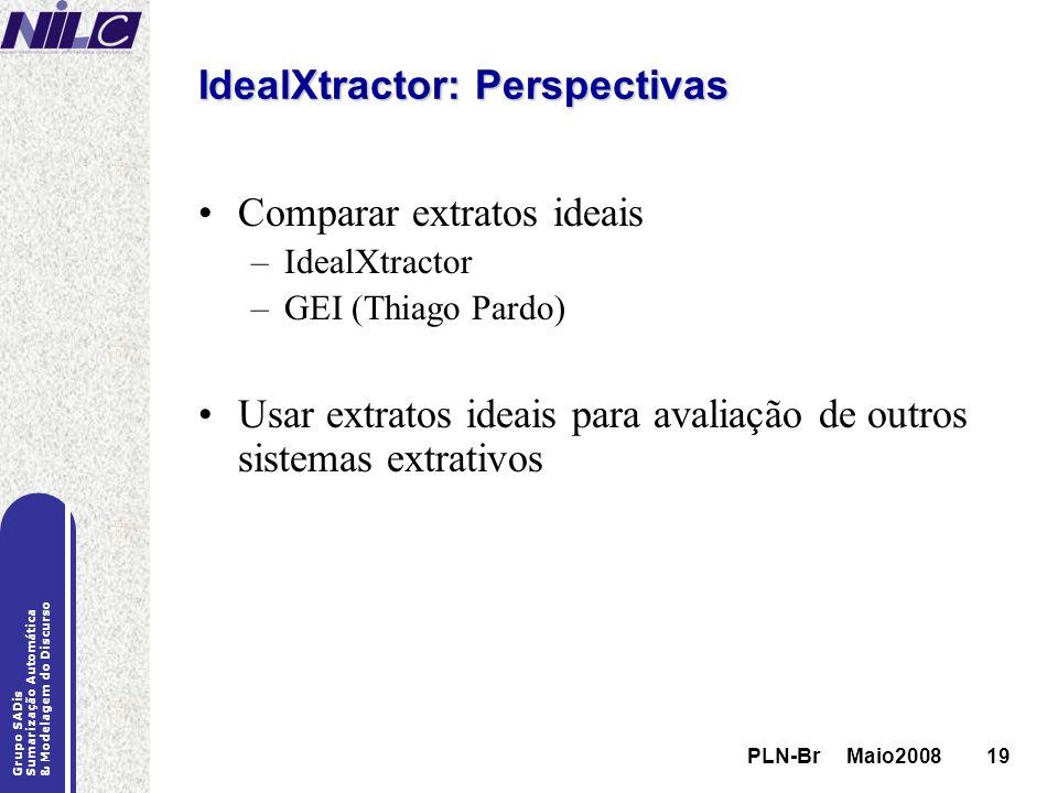 PLN-Br Maio200819 Grupo SADis Sumarização Automática & Modelagem do Discurso PLN-Br Maio200819 IdealXtractor: Perspectivas Comparar extratos ideais –I