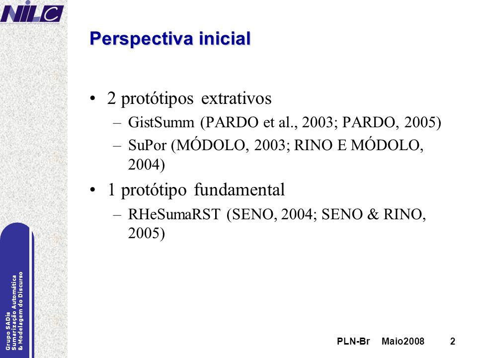 PLN-Br Maio20082 Grupo SADis Sumarização Automática & Modelagem do Discurso PLN-Br Maio20082 Perspectiva inicial 2 protótipos extrativos –GistSumm (PA