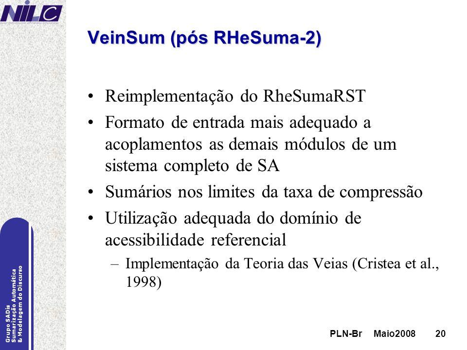 PLN-Br Maio200820 Grupo SADis Sumarização Automática & Modelagem do Discurso PLN-Br Maio200820 VeinSum (pós RHeSuma-2) Reimplementação do RheSumaRST F