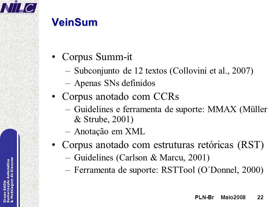 PLN-Br Maio200822 Grupo SADis Sumarização Automática & Modelagem do Discurso PLN-Br Maio200822 VeinSum Corpus Summ-it –Subconjunto de 12 textos (Collo
