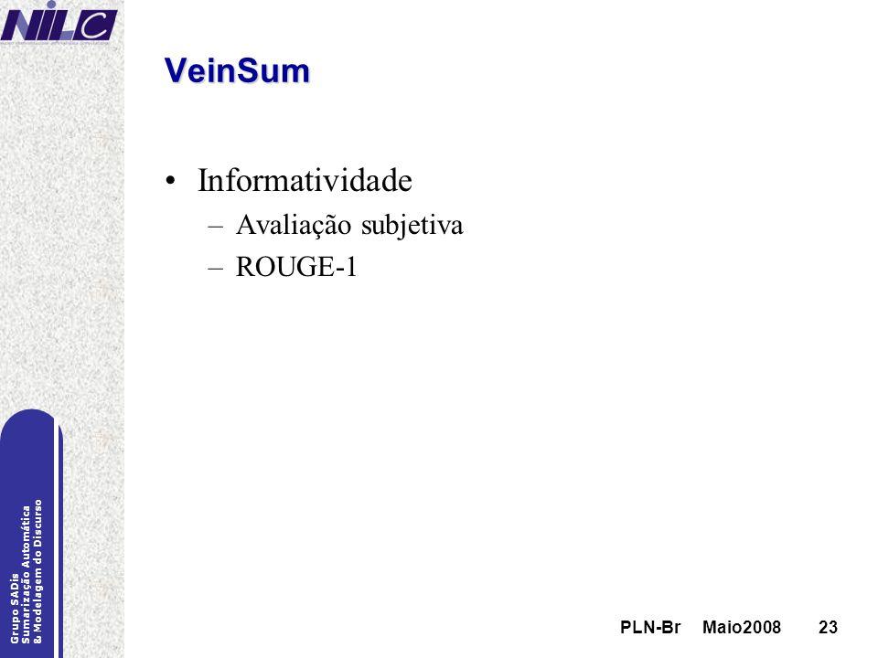 PLN-Br Maio200823 Grupo SADis Sumarização Automática & Modelagem do Discurso PLN-Br Maio200823 VeinSum Informatividade –Avaliação subjetiva –ROUGE-1