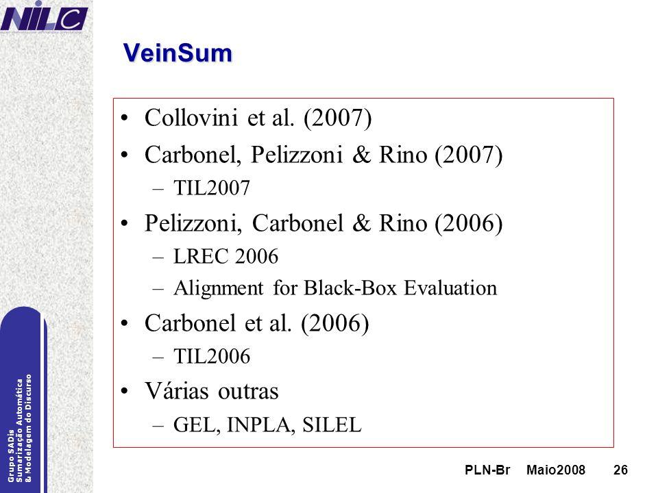 PLN-Br Maio200826 Grupo SADis Sumarização Automática & Modelagem do Discurso PLN-Br Maio200826 VeinSum Collovini et al. (2007) Carbonel, Pelizzoni & R