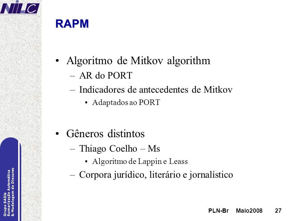 PLN-Br Maio200827 Grupo SADis Sumarização Automática & Modelagem do Discurso PLN-Br Maio200827 RAPM Algoritmo de Mitkov algorithm –AR do PORT –Indicad