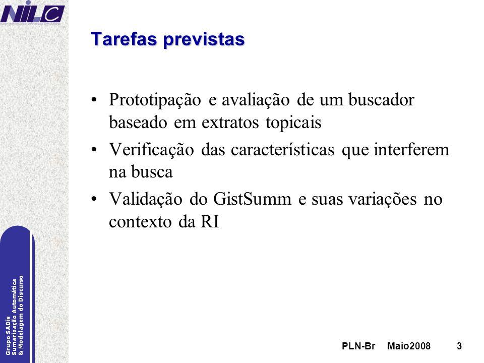 PLN-Br Maio20083 Grupo SADis Sumarização Automática & Modelagem do Discurso PLN-Br Maio20083 Tarefas previstas Prototipação e avaliação de um buscador