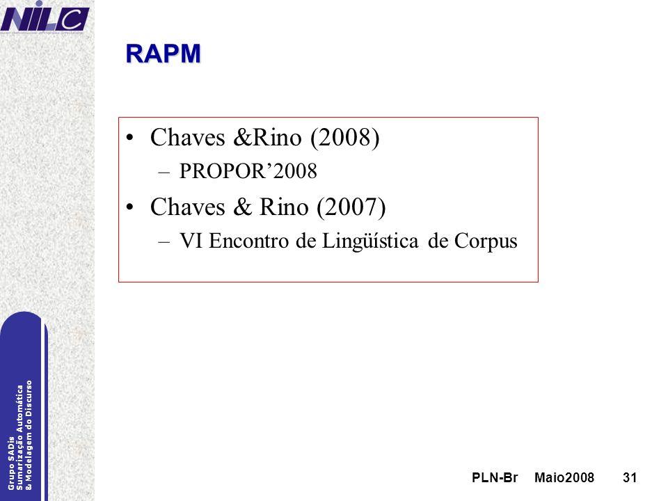 PLN-Br Maio200831 Grupo SADis Sumarização Automática & Modelagem do Discurso PLN-Br Maio200831 RAPM Chaves &Rino (2008) –PROPOR2008 Chaves & Rino (200