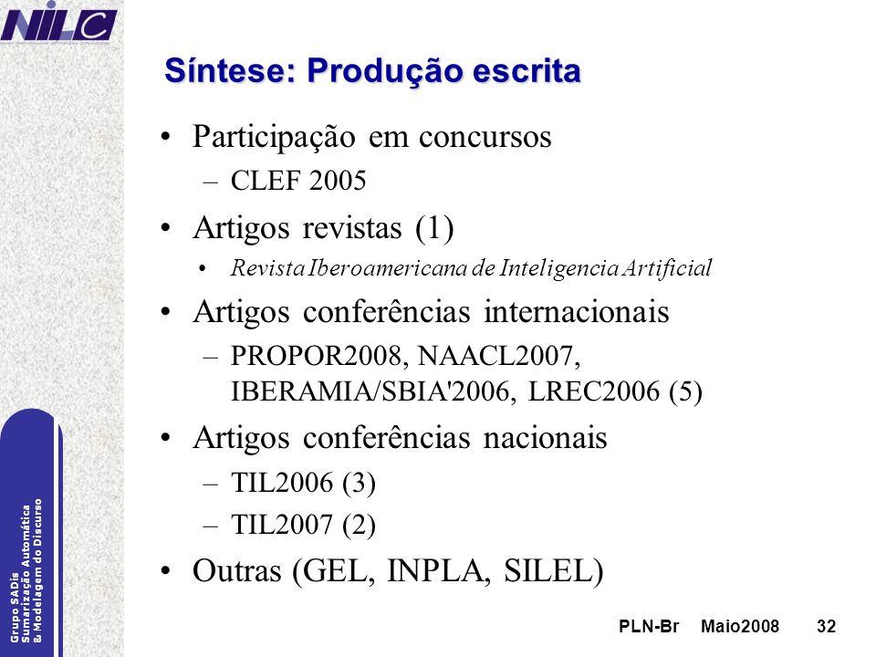 PLN-Br Maio200832 Grupo SADis Sumarização Automática & Modelagem do Discurso PLN-Br Maio200832 Síntese: Produção escrita Participação em concursos –CL