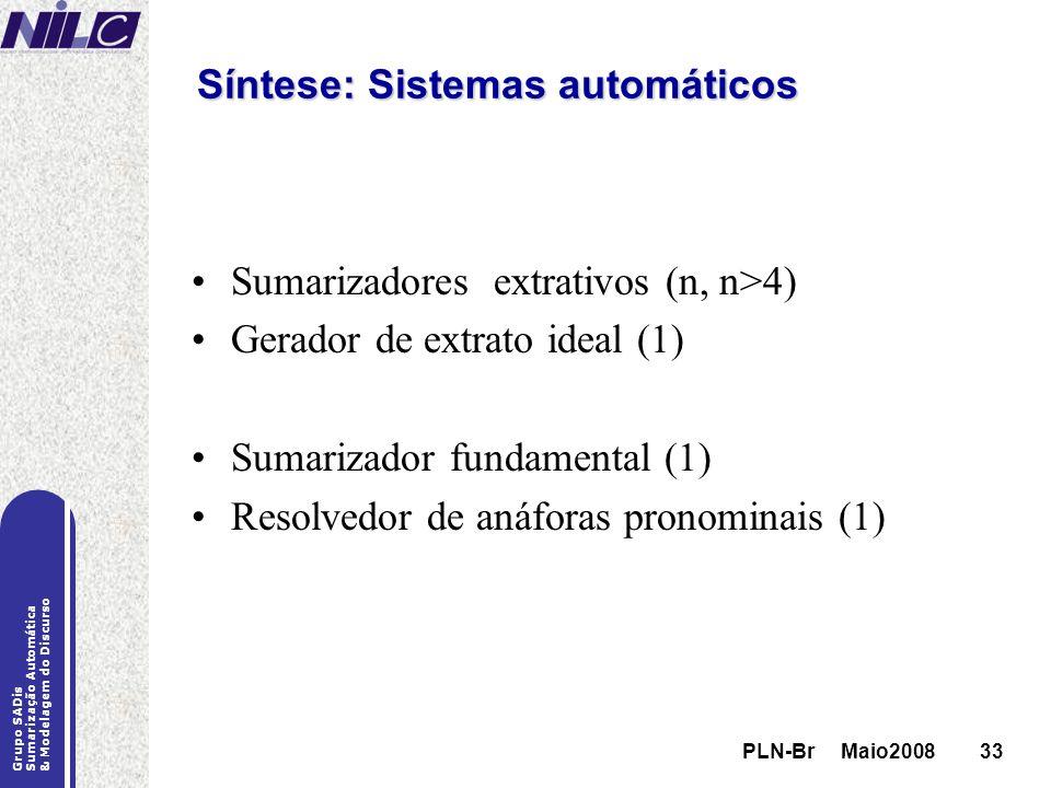 PLN-Br Maio200833 Grupo SADis Sumarização Automática & Modelagem do Discurso PLN-Br Maio200833 Síntese: Sistemas automáticos Sumarizadores extrativos