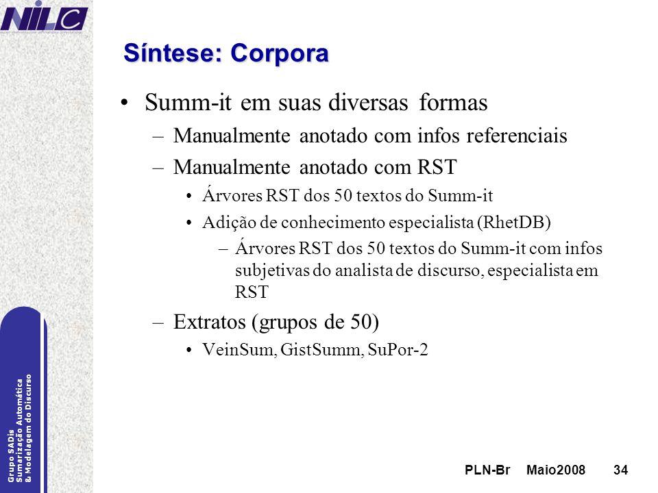 PLN-Br Maio200834 Grupo SADis Sumarização Automática & Modelagem do Discurso PLN-Br Maio200834 Síntese: Corpora Summ-it em suas diversas formas –Manua