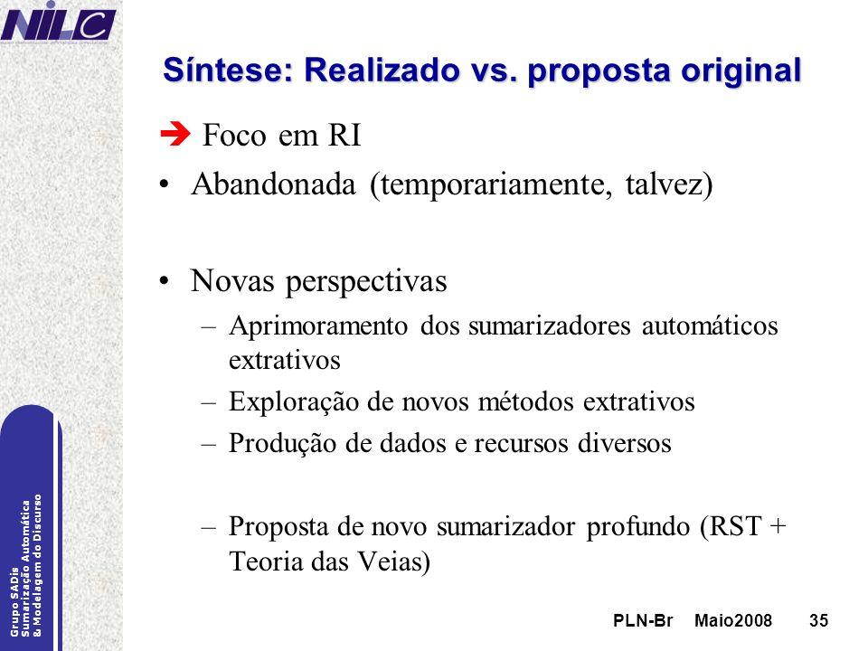PLN-Br Maio200835 Grupo SADis Sumarização Automática & Modelagem do Discurso PLN-Br Maio200835 Síntese: Realizado vs. proposta original Foco em RI Aba