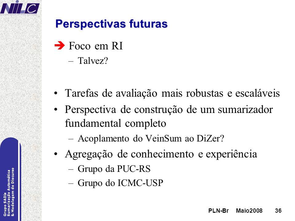 PLN-Br Maio200836 Grupo SADis Sumarização Automática & Modelagem do Discurso PLN-Br Maio200836 Perspectivas futuras Foco em RI –Talvez? Tarefas de ava