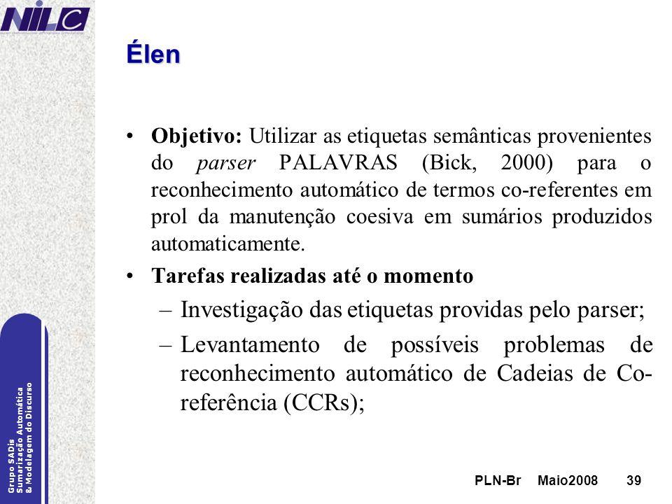 PLN-Br Maio200839 Grupo SADis Sumarização Automática & Modelagem do Discurso PLN-Br Maio200839 Élen Objetivo: Utilizar as etiquetas semânticas proveni