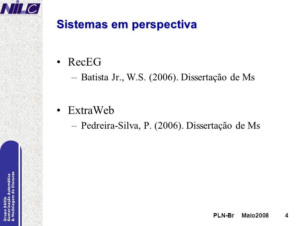 PLN-Br Maio20084 Grupo SADis Sumarização Automática & Modelagem do Discurso PLN-Br Maio20084 Sistemas em perspectiva RecEG –Batista Jr., W.S. (2006).