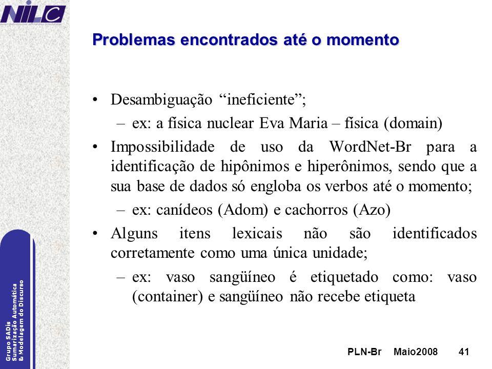 PLN-Br Maio200841 Grupo SADis Sumarização Automática & Modelagem do Discurso PLN-Br Maio200841 Problemas encontrados até o momento Desambiguação inefi