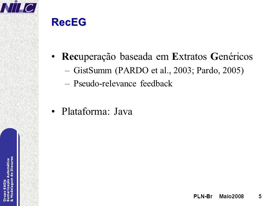PLN-Br Maio20085 Grupo SADis Sumarização Automática & Modelagem do Discurso PLN-Br Maio20085 RecEG Recuperação baseada em Extratos Genéricos –GistSumm