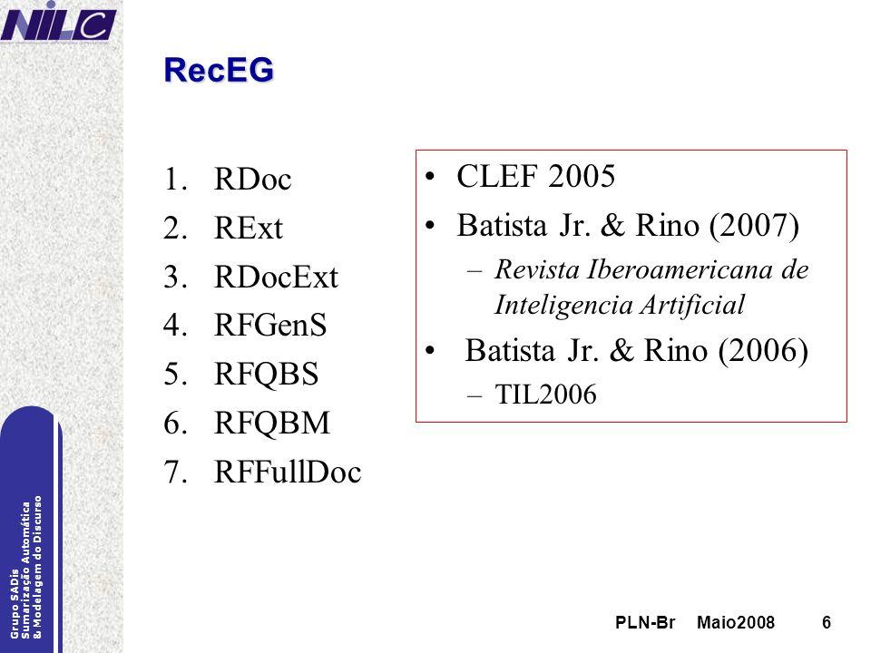 PLN-Br Maio20086 Grupo SADis Sumarização Automática & Modelagem do Discurso PLN-Br Maio20086 RecEG 1.RDoc 2.RExt 3.RDocExt 4.RFGenS 5.RFQBS 6.RFQBM 7.