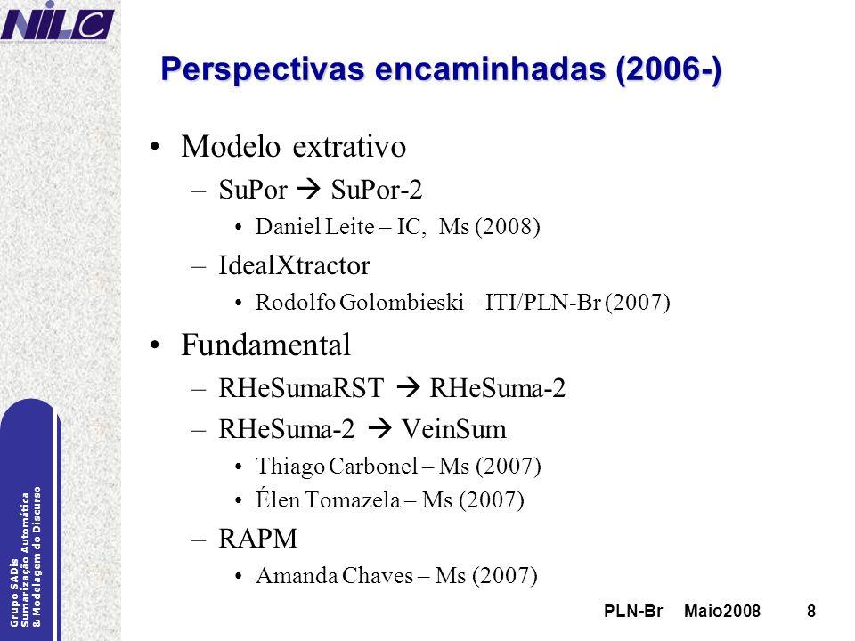 PLN-Br Maio20088 Grupo SADis Sumarização Automática & Modelagem do Discurso PLN-Br Maio20088 Perspectivas encaminhadas (2006-) Modelo extrativo –SuPor