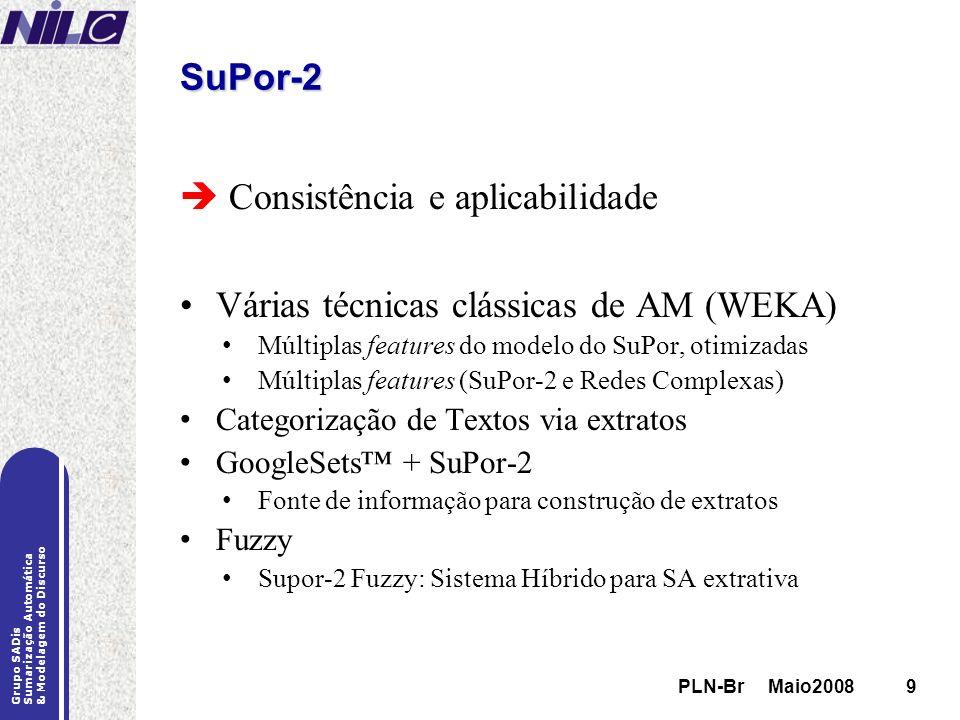 PLN-Br Maio20089 Grupo SADis Sumarização Automática & Modelagem do Discurso PLN-Br Maio20089 SuPor-2 Consistência e aplicabilidade Várias técnicas clá