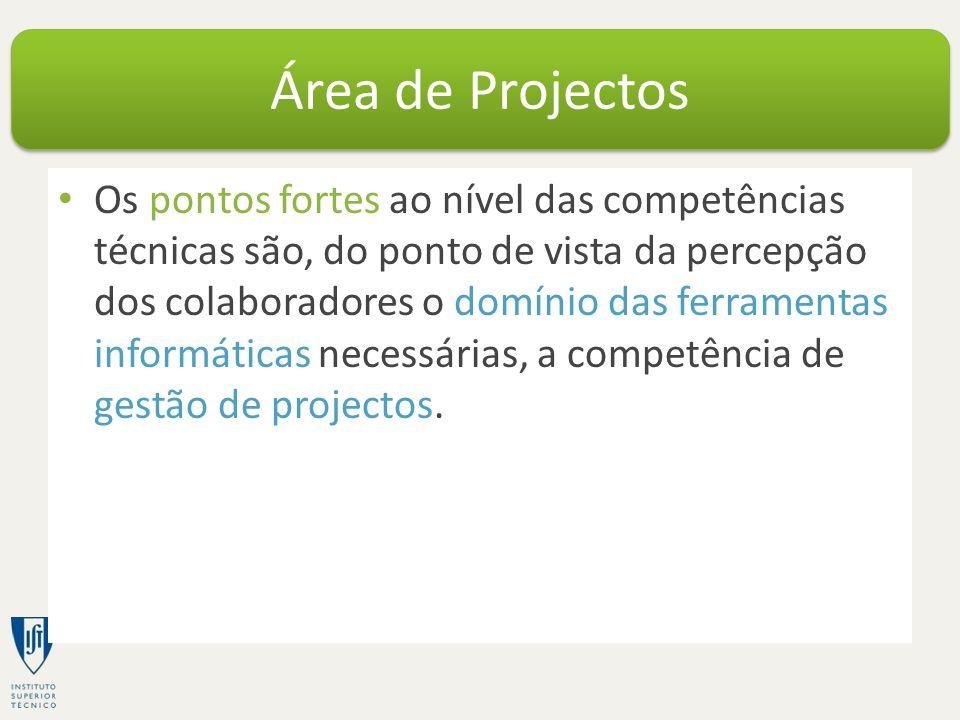 Os pontos fortes ao nível das competências técnicas são, do ponto de vista da percepção dos colaboradores o domínio das ferramentas informáticas necessárias, a competência de gestão de projectos.