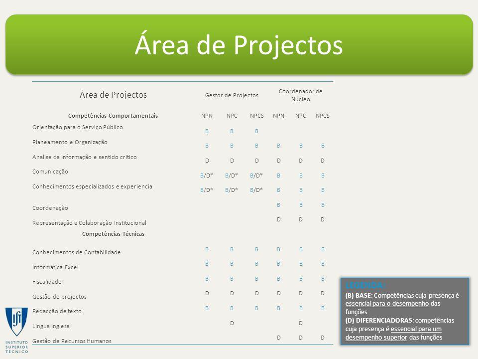 Área de Projectos Gestor de Projectos Coordenador de Núcleo Competências ComportamentaisNPNNPCNPCSNPNNPCNPCS Orientação para o Serviço Público BBB Pla