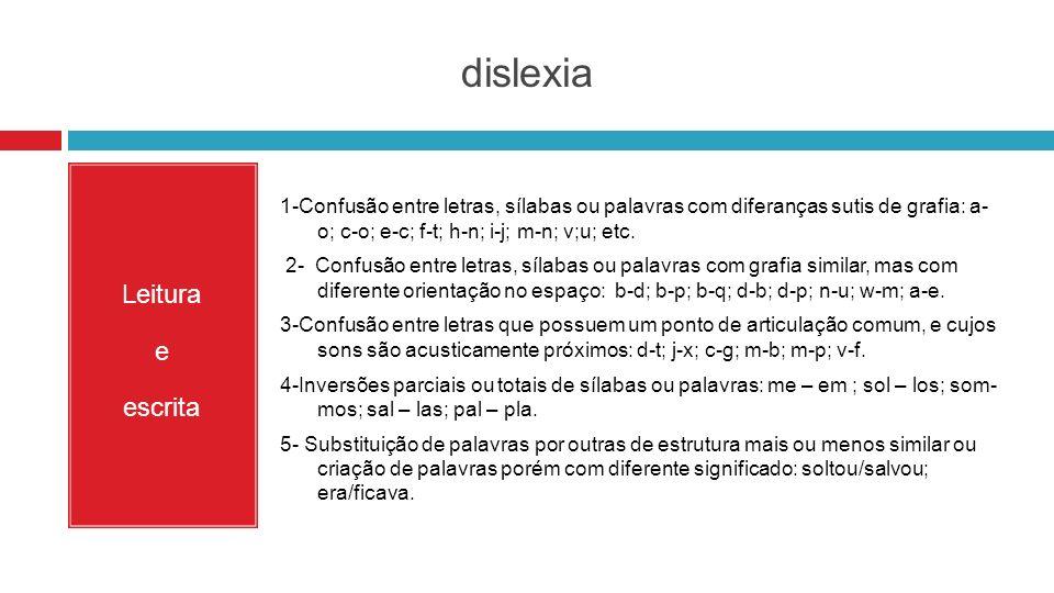 dislexia Leitura e escrita 1-Confusão entre letras, sílabas ou palavras com diferanças sutis de grafia: a- o; c-o; e-c; f-t; h-n; i-j; m-n; v;u; etc.