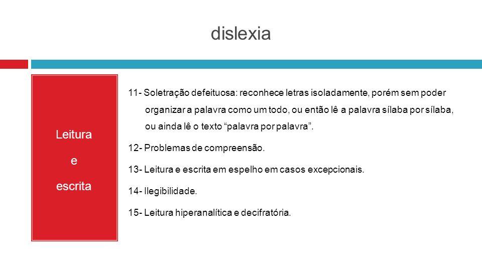 dislexia Leitura e escrita 11- Soletração defeituosa: reconhece letras isoladamente, porém sem poder organizar a palavra como um todo, ou então lê a p