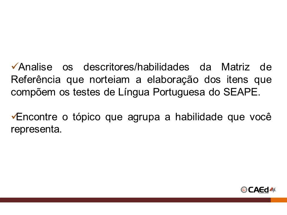Analise os descritores/habilidades da Matriz de Referência que norteiam a elaboração dos itens que compõem os testes de Língua Portuguesa do SEAPE. En