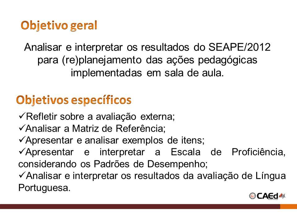 Analisar e interpretar os resultados do SEAPE/2012 para (re)planejamento das ações pedagógicas implementadas em sala de aula. Refletir sobre a avaliaç