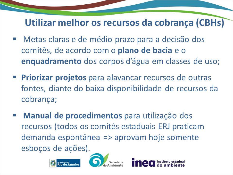Utilizar melhor os recursos da cobrança (CBHs) Metas claras e de médio prazo para a decisão dos comitês, de acordo com o plano de bacia e o enquadrame