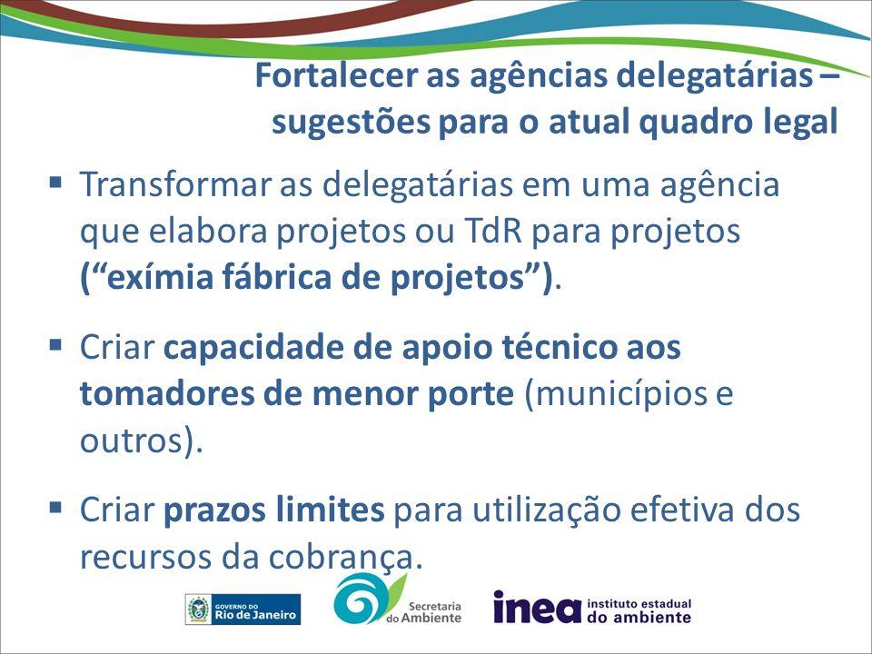 Fortalecer as agências delegatárias – sugestões para o atual quadro legal Transformar as delegatárias em uma agência que elabora projetos ou TdR para