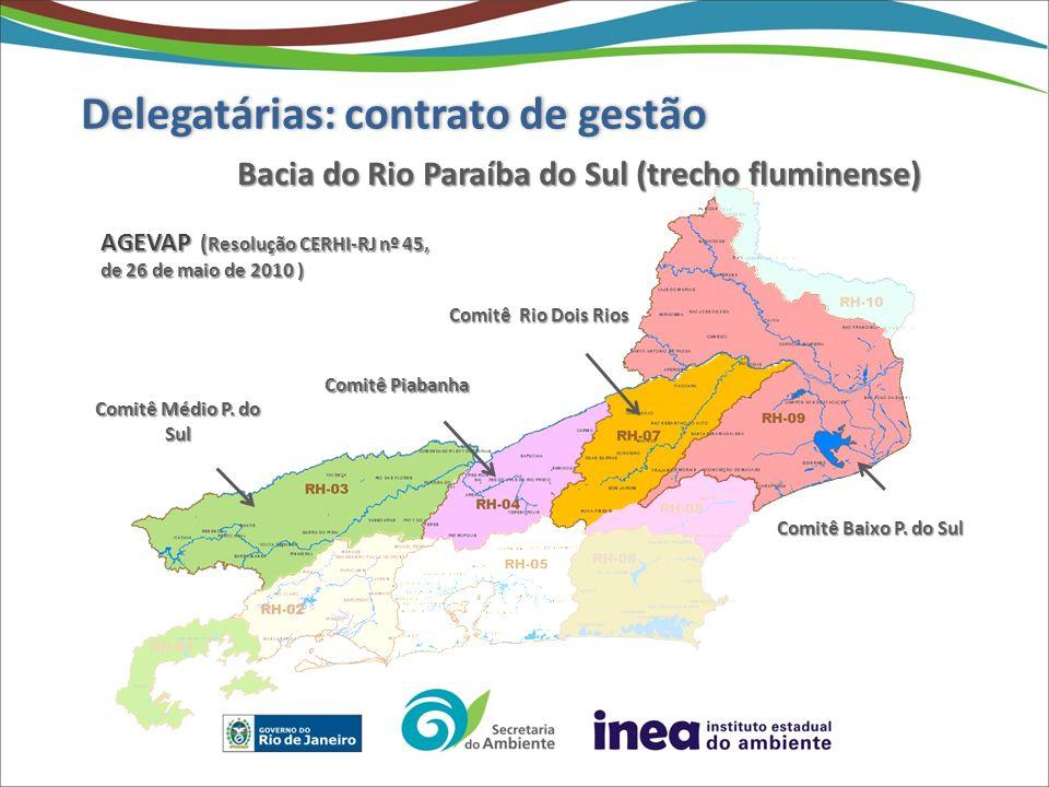 Comitê Lagos São João Comitê Guandu AGEVAP (Resolução CERHI-RJ nº 50 de 28 de julho de 2010 ) CILSJ (Resolução CERHI-RJ nº 47 de 26 de maio de 2010) Delegatárias: contrato de gestão