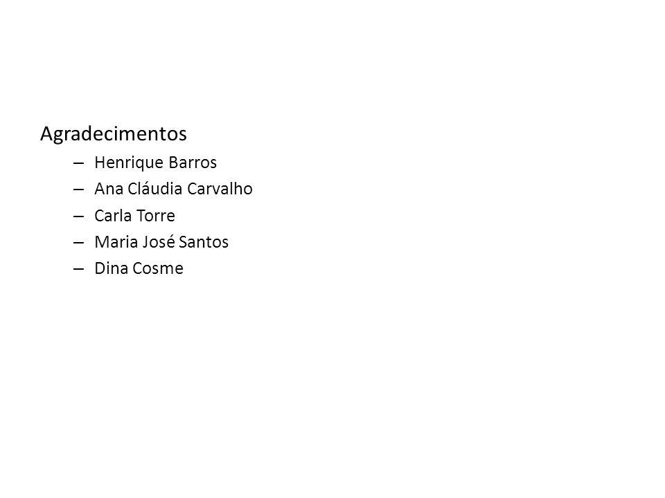 Agradecimentos – Henrique Barros – Ana Cláudia Carvalho – Carla Torre – Maria José Santos – Dina Cosme