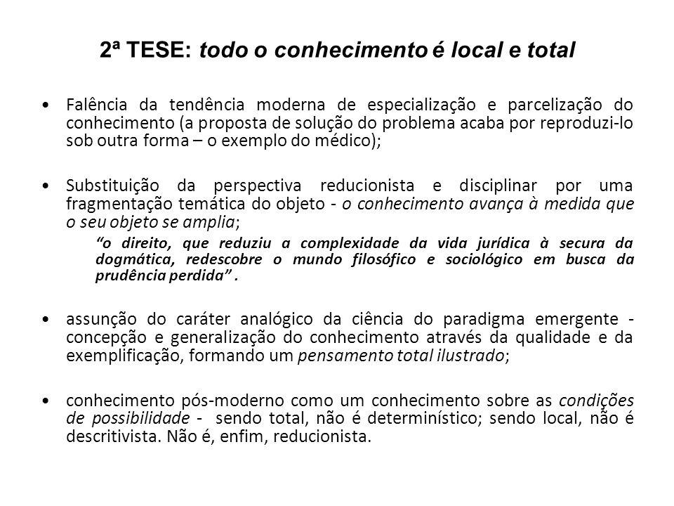 2ª TESE: todo o conhecimento é local e total Falência da tendência moderna de especialização e parcelização do conhecimento (a proposta de solução do