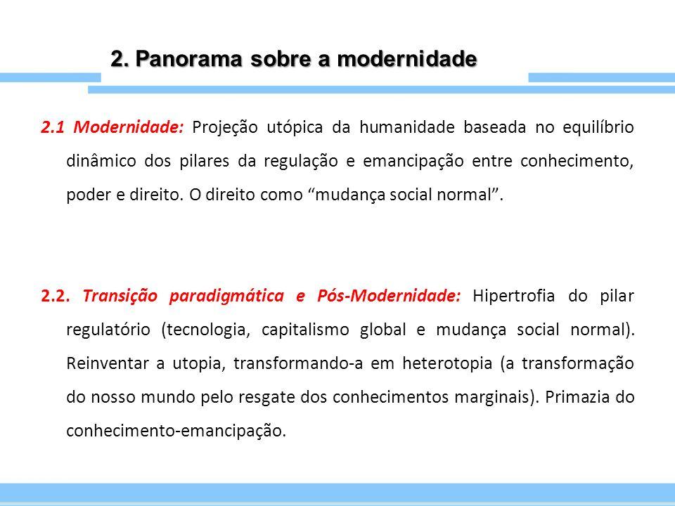 2. Panorama sobre a modernidade 2.1 Modernidade: Projeção utópica da humanidade baseada no equilíbrio dinâmico dos pilares da regulação e emancipação