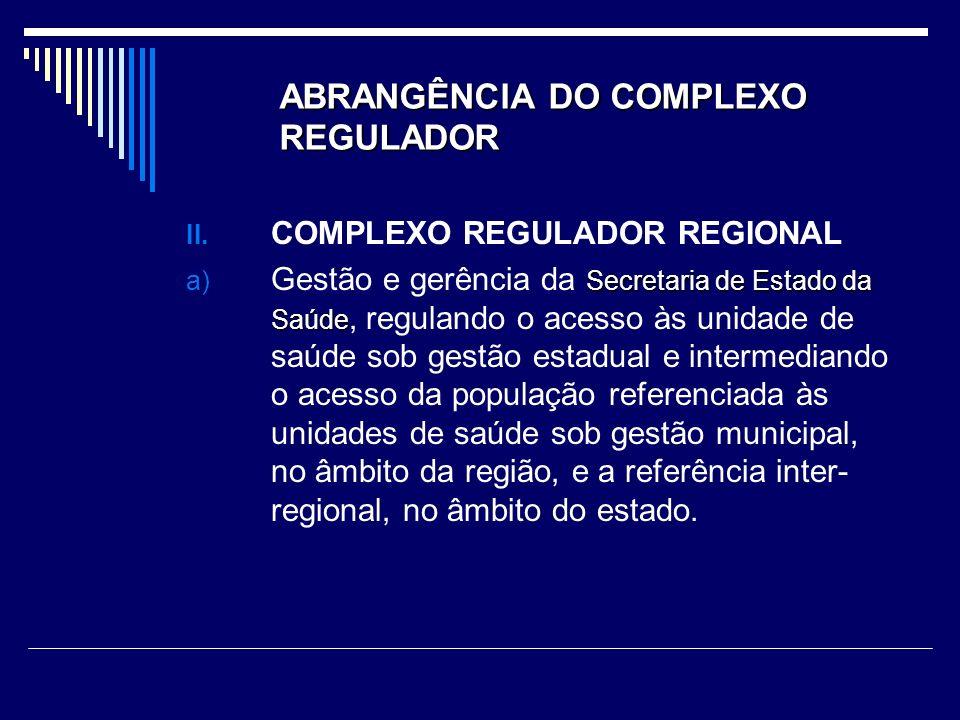 ABRANGÊNCIA DO COMPLEXO REGULADOR II.