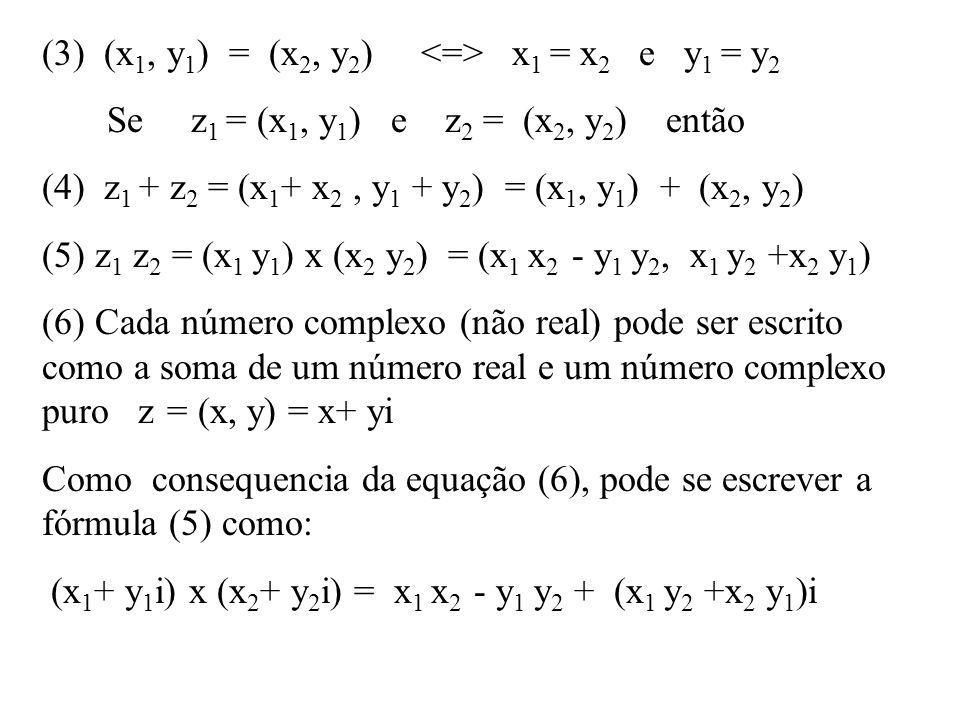 (3) (x 1, y 1 ) = (x 2, y 2 ) x 1 = x 2 e y 1 = y 2 Se z 1 = (x 1, y 1 ) e z 2 = (x 2, y 2 ) então (4) z 1 + z 2 = (x 1 + x 2, y 1 + y 2 ) = (x 1, y 1