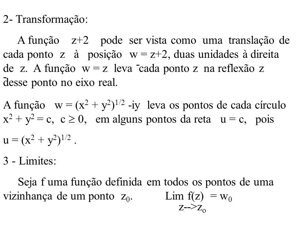 2- Transformação: A função z+2 pode ser vista como uma translação de cada ponto z à posição w = z+2, duas unidades à direita de z. A função w = z leva