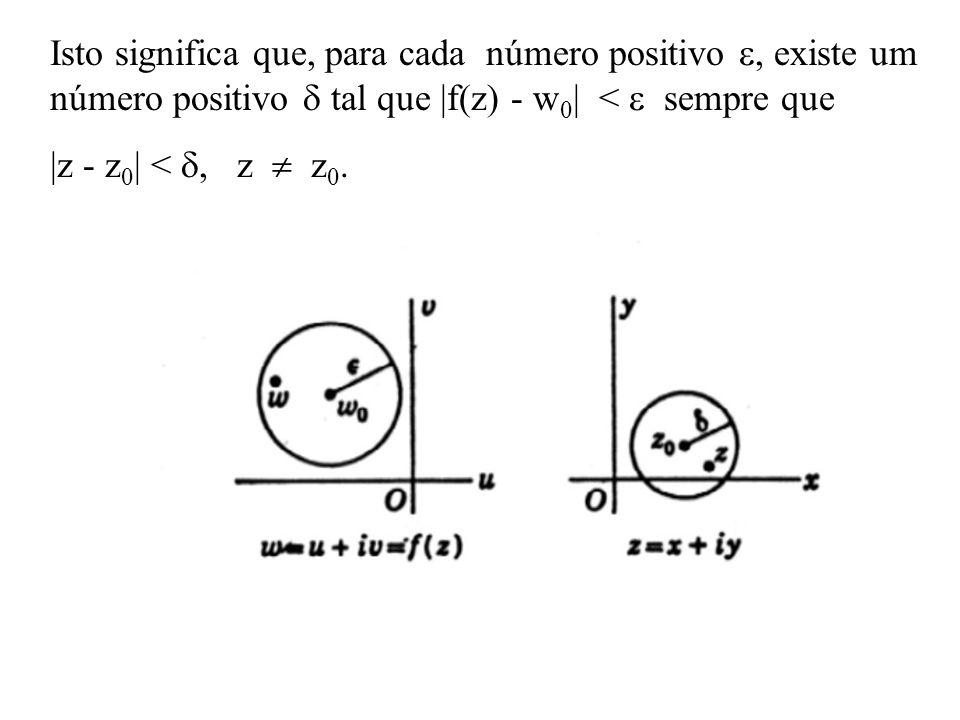 Isto significa que, para cada número positivo, existe um número positivo tal que |f(z) - w 0 | < sempre que |z - z 0 | <, z z 0.