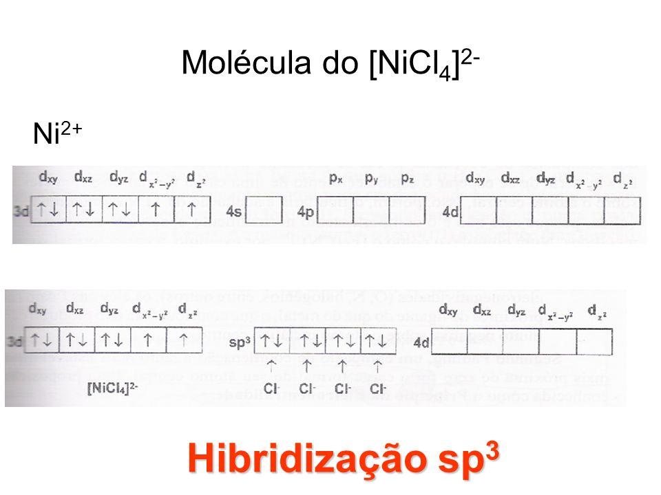 Molécula do [NiCl 4 ] 2- Ni 2+ Hibridização sp 3