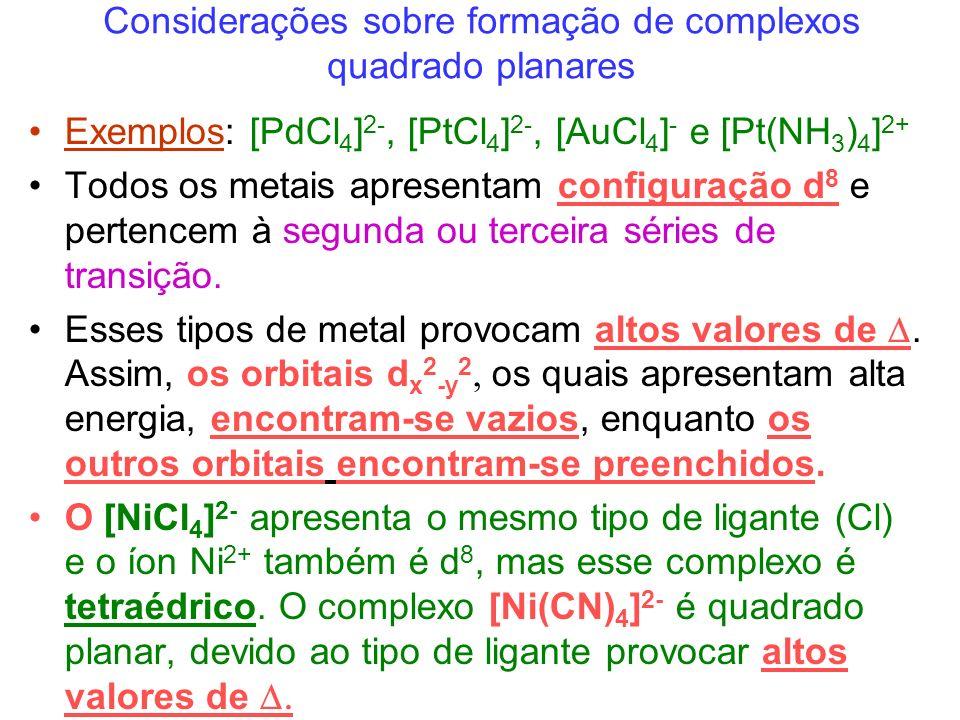 Considerações sobre formação de complexos quadrado planares Exemplos: [PdCl 4 ] 2-, [PtCl 4 ] 2-, [AuCl 4 ] - e [Pt(NH 3 ) 4 ] 2+ Todos os metais apresentam configuração d 8 e pertencem à segunda ou terceira séries de transição.