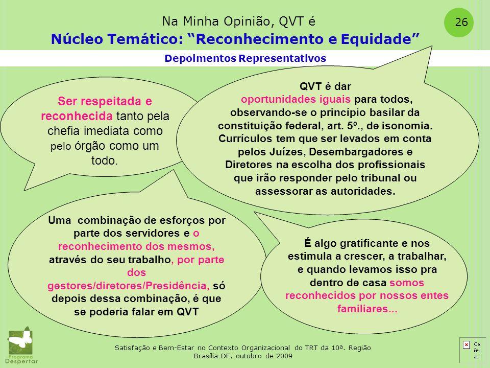 Satisfação e Bem-Estar no Contexto Organizacional do TRT da 10ª. Região Brasília-DF, outubro de 2009 26 Depoimentos Representativos Núcleo Temático: R