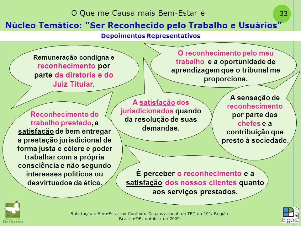 Satisfação e Bem-Estar no Contexto Organizacional do TRT da 10ª. Região Brasília-DF, outubro de 2009 33 Depoimentos Representativos Núcleo Temático: S