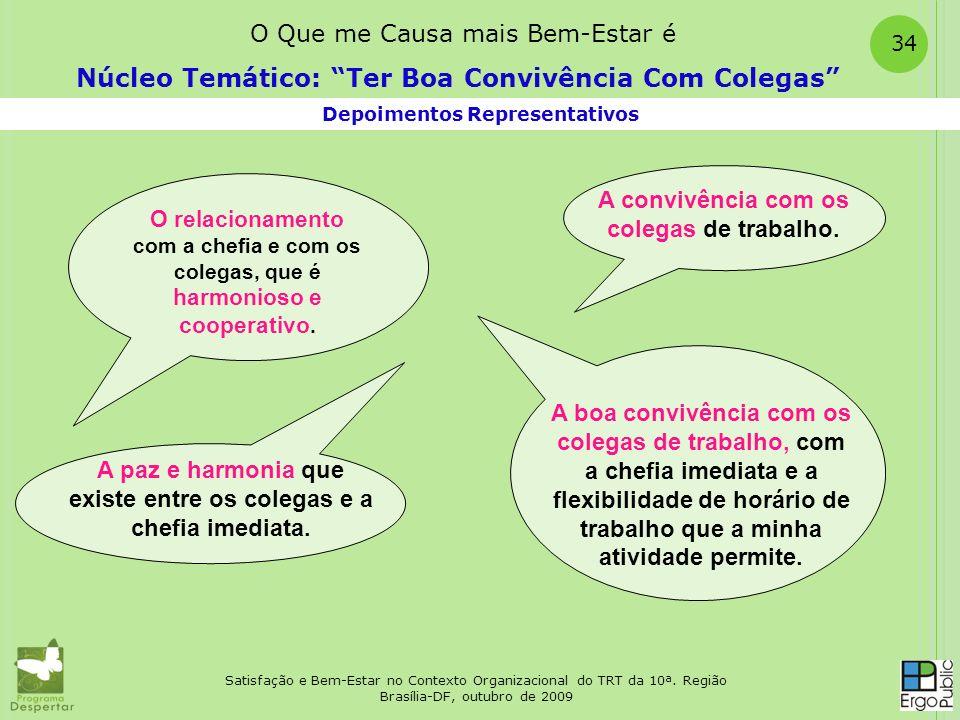 Satisfação e Bem-Estar no Contexto Organizacional do TRT da 10ª. Região Brasília-DF, outubro de 2009 34 Depoimentos Representativos Núcleo Temático: T