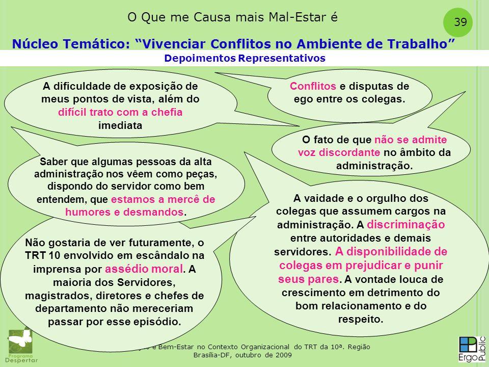 Satisfação e Bem-Estar no Contexto Organizacional do TRT da 10ª. Região Brasília-DF, outubro de 2009 39 Depoimentos Representativos Núcleo Temático: V
