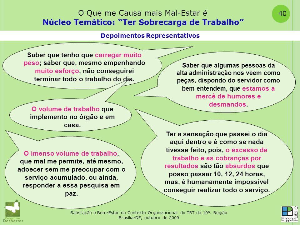 Satisfação e Bem-Estar no Contexto Organizacional do TRT da 10ª. Região Brasília-DF, outubro de 2009 40 Depoimentos Representativos Núcleo Temático: T
