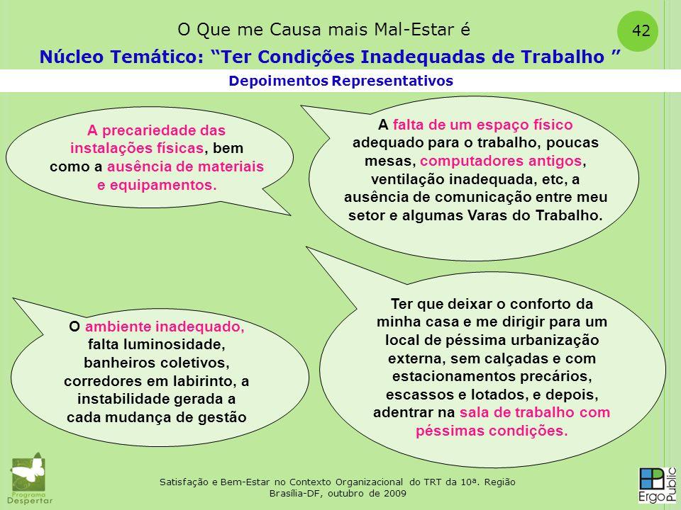 Satisfação e Bem-Estar no Contexto Organizacional do TRT da 10ª. Região Brasília-DF, outubro de 2009 42 Depoimentos Representativos Núcleo Temático: T