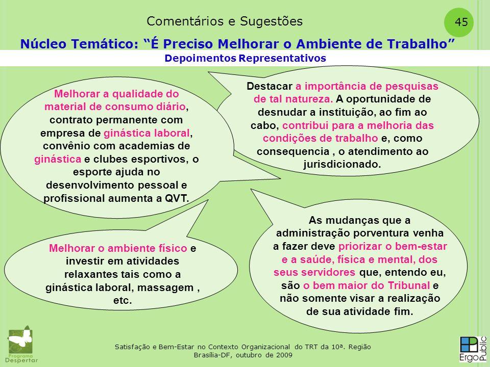 Satisfação e Bem-Estar no Contexto Organizacional do TRT da 10ª. Região Brasília-DF, outubro de 2009 45 Depoimentos Representativos Núcleo Temático: É