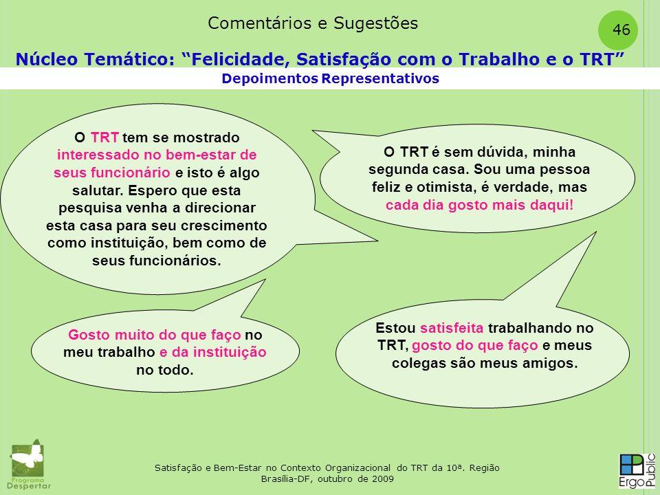Satisfação e Bem-Estar no Contexto Organizacional do TRT da 10ª. Região Brasília-DF, outubro de 2009 46 Depoimentos Representativos Núcleo Temático: F
