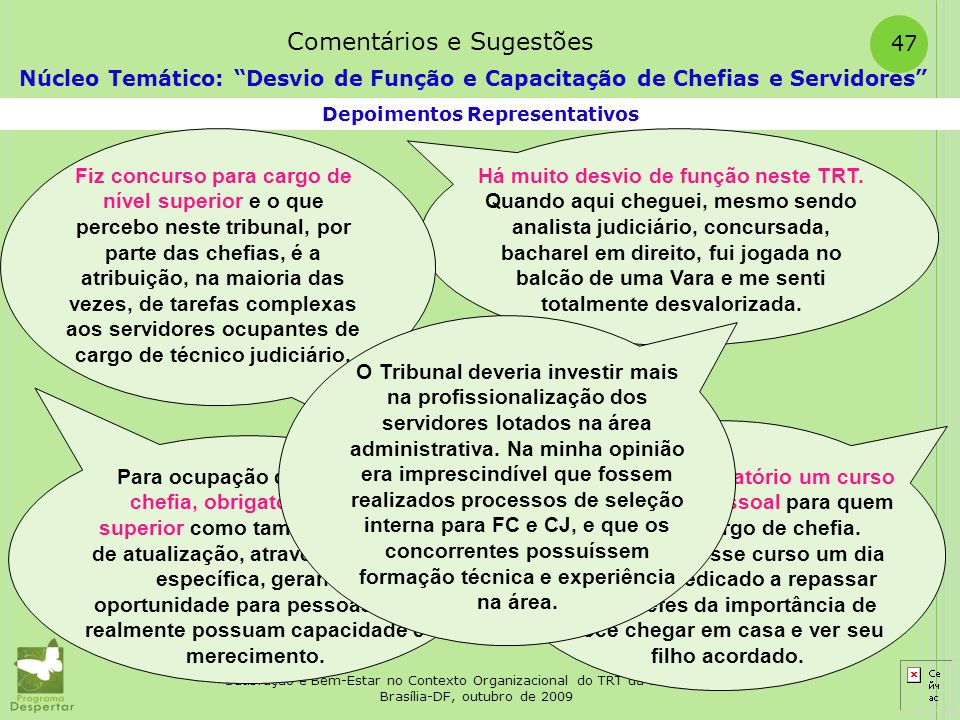 Satisfação e Bem-Estar no Contexto Organizacional do TRT da 10ª. Região Brasília-DF, outubro de 2009 47 Depoimentos Representativos Núcleo Temático: D