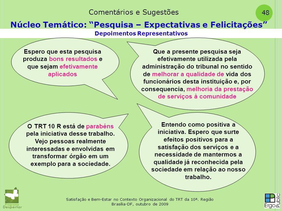 Satisfação e Bem-Estar no Contexto Organizacional do TRT da 10ª. Região Brasília-DF, outubro de 2009 48 Depoimentos Representativos Núcleo Temático: P